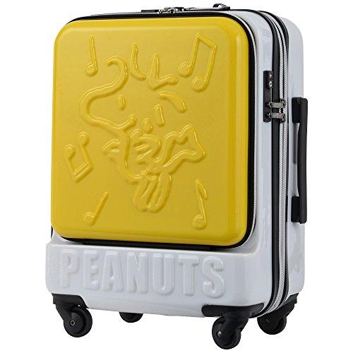 キャリーケース ピーナッツ スヌーピー 当社限定 スーツケース かわいい フロントオープン 機内持ち込み可 TSAロック エキスパンダブル PEANUTS SNOOPY ファスナータイプ 4輪 35L 1日 2日用 47cm Sサイズ PN-001 (YELLOW-WS)