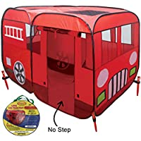 (Without Step-Up at Door, Large) - Large Children Fire Engine Truck Pop-Up Playhouse Play Tent (with No-Step) At Front Door for Easy Access For Toddlers Boys Girls Kids to Pretend Play Fireman, Can be Used Indoors or Outdoors w/Stakes