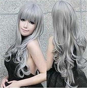 Eleoption ウィッグ カツラ コスプレウイッグ コスチュームコスプレ用 ロングヘア シルバーグレー 銀色灰色