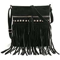 LUI SUI Women Faux Suede Leather Hobo Fringe Cross Body Shoulder Bag Tassel Messenger Handbag