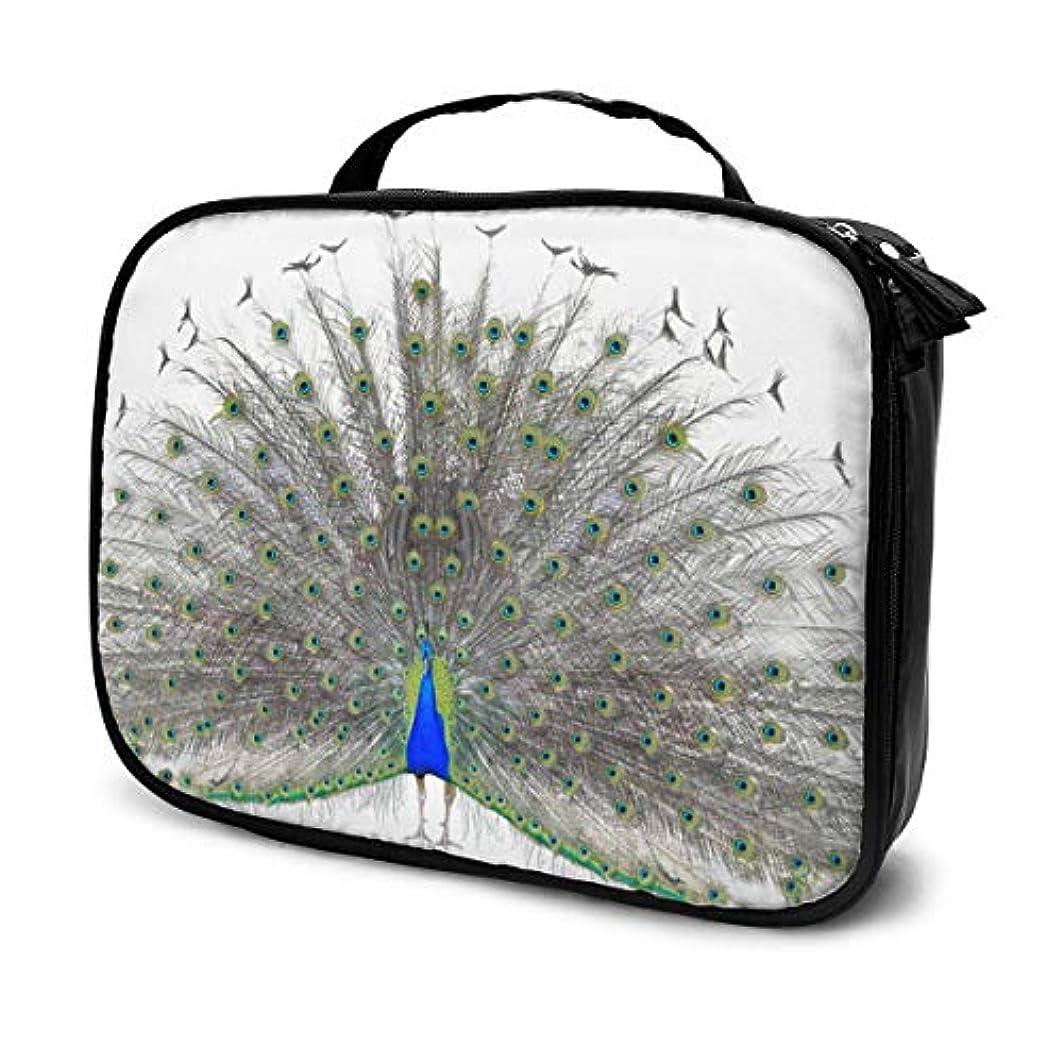 ラメバルブ苦しむ美しい男性孔雀ポータブル旅行メイク化粧品バッグオーガナイザー多機能ケーストイレタリーバッグ用女性