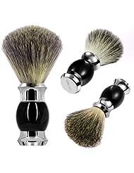 GRUTTI ひげブラシ シェービング ブラシ メンズ 100% アナグマ毛 理容 洗顔 髭剃り 泡立ち …