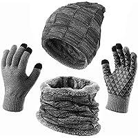 KRATARC Winter Warm Scarf Beanie Hat Glove Neck Gaiter Set Adult Men Women Outdoor
