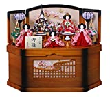 雛人形 収納飾り ひな人形 衣裳着五人飾り 家具調格子付収納箱 W72×D44×H61cm S5-980