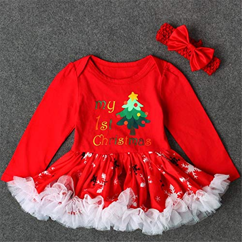 lcky Girls Christmas Two-Piece Red Christmas Long Sleeve Dress Bow Hairband(Red 95cm(9-12 Month))