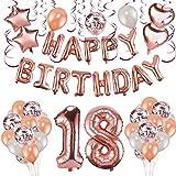 Konsait ローズゴールド 18歳の誕生日デコレーション 女性用 女の子用 誕生日パーティー用品 59ピース ハッピーバースデーバナー 吊り下げ 渦巻き 紙吹雪 ラテックスバルーン 星 ハート ホイルバルーン