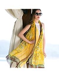 スクールガールサンショール夏大きなショール桑シルクスカーフ春のスカーフ96.4 * 43.3インチ (Color : Yellow)