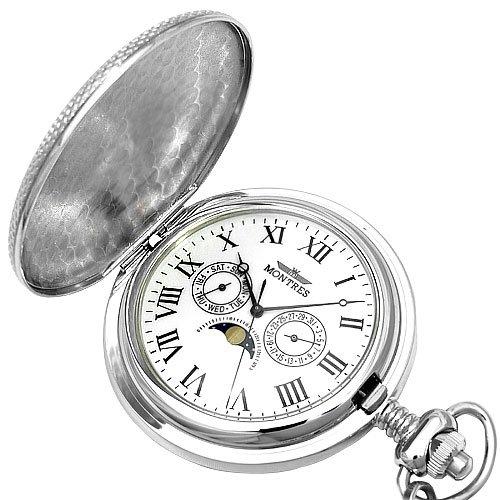[해외]MONTRES 몽 트레스 문 페이스 탑재 회중 시계 회중 시계 실버 무늬가 × 로마 숫자 MS-923-SV-C/MONTRES Montres Moonface loaded pocket watch Pocket watch Silver pattern Yes Roman numeral MS-923-SV-C