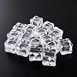 Kicode 16Pcs Acrylic Glass Luster Ice Cubes Square Shape Fake Artificial Ice Cubes Crystal Clear for for Photography Props or Decorations