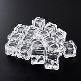 Kicode 16パックアクリルガラス光沢アイスキューブ正方形形状擬似人工アイスキューブクリスタルクリア用写真小道具や装飾