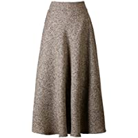 PERSUN Women's High Waist Flared Woolen A-Line Winter Long Skirt w/Pockets