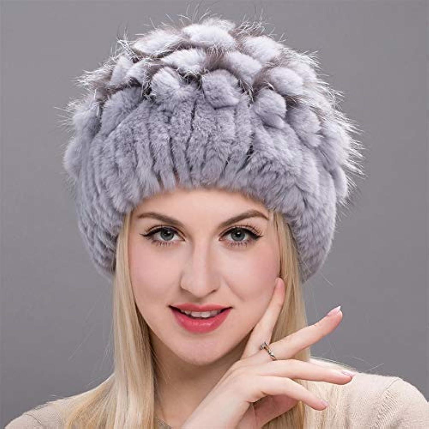 よく話される親指憧れACAO 草キツネの毛皮イヤーキャップファッション花ヘッダーキャップのさん冬のウサギの毛皮の帽子幅のストリップ (色 : Gray, Size : M)