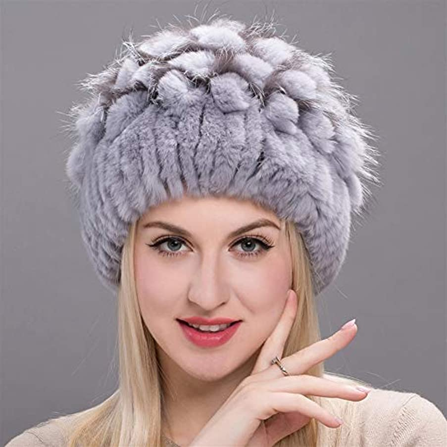 中間屈辱する反論ACAO 草キツネの毛皮イヤーキャップファッション花ヘッダーキャップのさん冬のウサギの毛皮の帽子幅のストリップ (色 : Gray, Size : M)