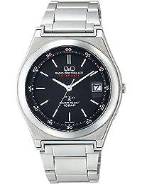[シチズン キューアンドキュー]CITIZEN Q&Q 腕時計 電波 ソーラー ソーラーメイト アナログ ブレスレット 10気圧防水 ブラック HG16-202 メンズ