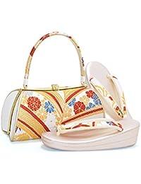 [ 京都きもの町 ] 振袖 草履バッグセット 白×金色 松の葉 Lサイズ