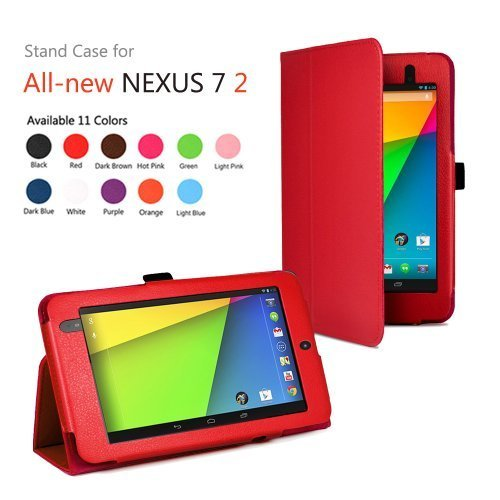 TNP Google Nexus 7 FHD 2nd Gen Case (Red) - Slim Fit Synthetic Leather Folio Case Stand with Smart Cover Auto Sleep Wake Feature and Stylus Holder for Google Nexus 2 7.0 Inch 2013 Tablet by TNP Products
