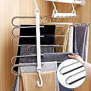 衣架 褲子收納 西裝衣架 防滑 不銹鋼 多層衣架 防皺 衣柜收納 省空間 6 層 2 條裝(白色(2 條裝))