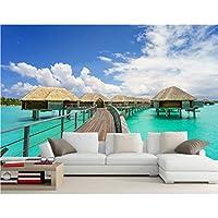 Xbwy 熱帯海雲バンガロー小屋自然の壁紙、レストランのリビングルームテレビソファ壁の寝室3D Wallaper壁画-150X120Cm