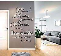 ウォールステッカー スペインの家引用壁用ステッカーCada Familia Tiene Una Historiaようこそ私たちのビニールの壁のステッカー家の装飾リビングルーム57 X 90 Cm