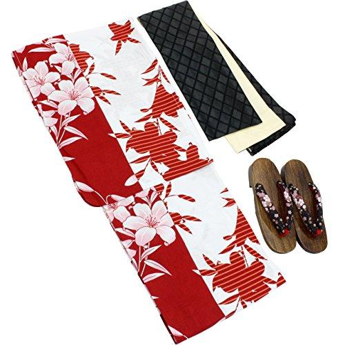 浴衣 レディース 百合柄 赤白色 福袋3点セット フリーサイズ N1359