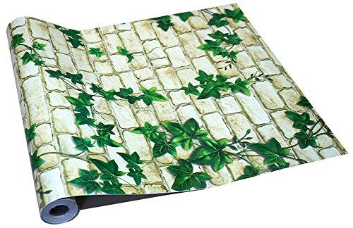 Claurys 壁紙 はがせる レンガ ウォールステッカー 45cm×10m 防水 簡単 貼り付け 選べるデザイン (草色レンガ)