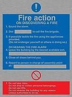 バイキングサインMF325-A3P-MS「火災発見時の火災対応」サイン、ステンレススチール、マリングレード、400 mm H x 300 mm W