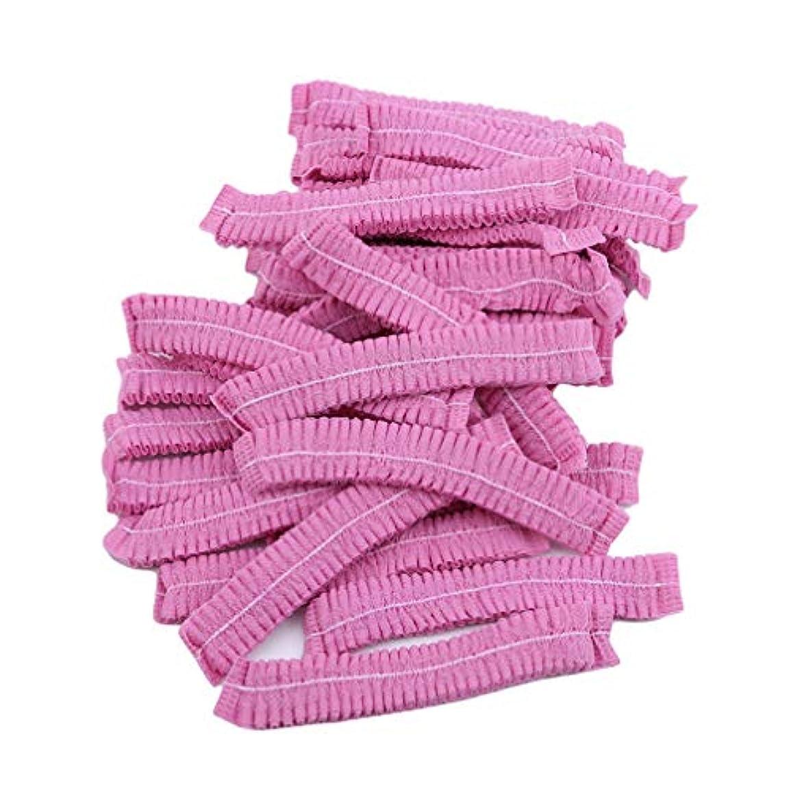 に石膏同志LJSLYJ 100ピースマイクロブレードパーマネントメイクアップ使い捨てヘアネットキャップ滅菌帽子眉毛スタイリングツールアクセサリー、ピンク