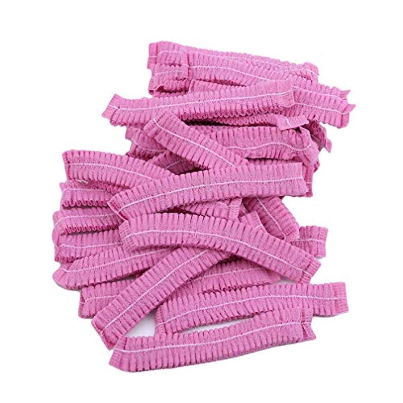 食事女王セレナLJSLYJ 100ピースマイクロブレードパーマネントメイクアップ使い捨てヘアネットキャップ滅菌帽子眉毛スタイリングツールアクセサリー、ピンク
