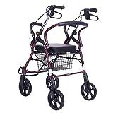 座席付きの軽量四輪ローラー、四輪歩行者、モバイルウォーカー、高齢者の安静座、障害者用歩行スタビライザー、調節可能な折り畳み式