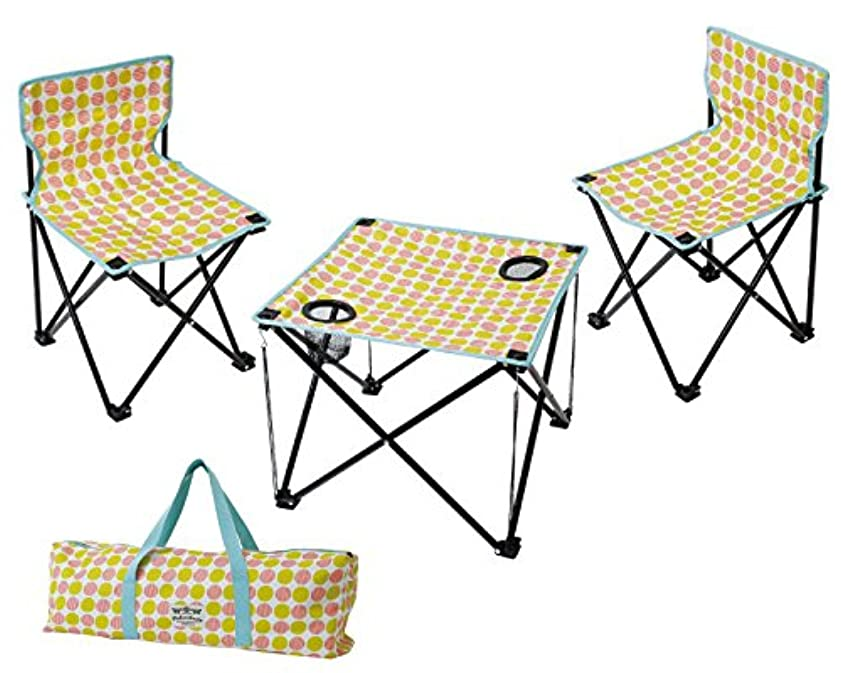 年癒す気を散らす丸和貿易 マミーフィールド テーブル&チェアーセット コンパクト おりたたみ 可愛い キャンプ アウトドア バーベキュー ドット 4008365-02