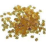 Funpa 紙吹雪 数字 番号 誕生日 結婚記念日 お祝い パーティー デコレーション 全4タイプ ゴールド プラスチック製 (40)