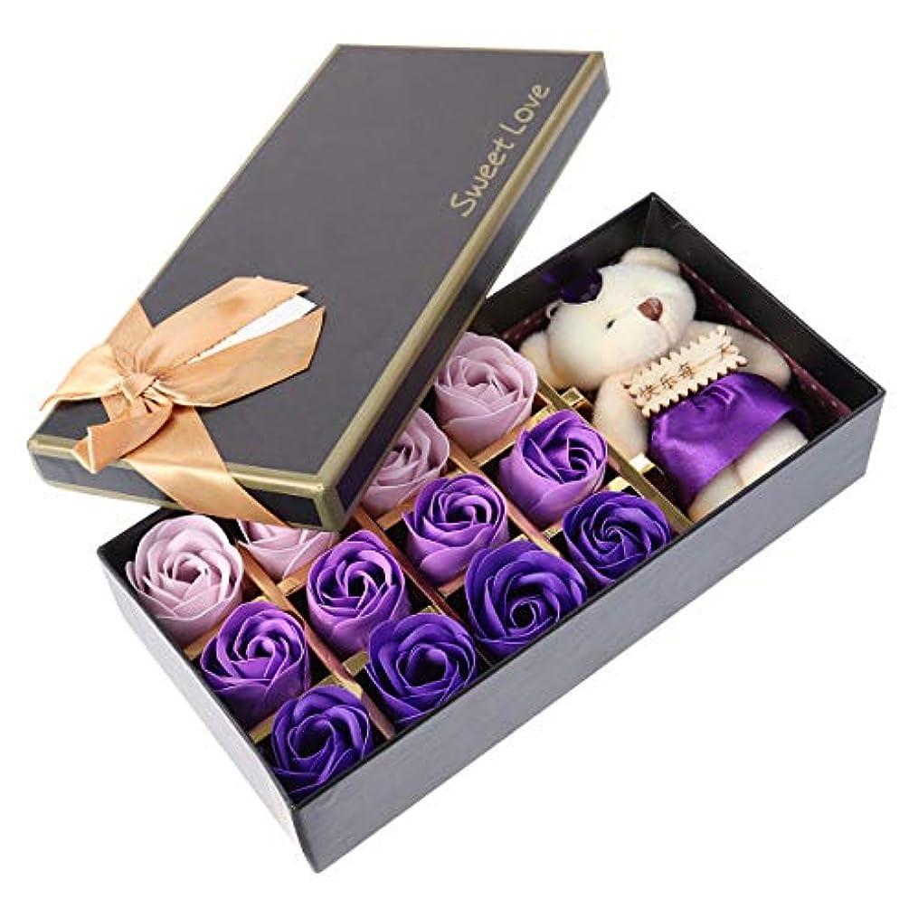 署名ジュニアピービッシュBeaupretty バレンタインデーの結婚式の誕生日プレゼントのための小さなクマとバラの石鹸の花