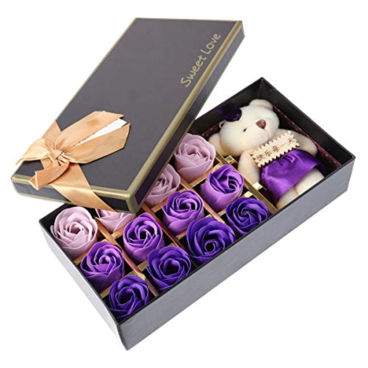 戻る受粉者島Beaupretty バレンタインデーの結婚式の誕生日プレゼントのための小さなクマとバラの石鹸の花