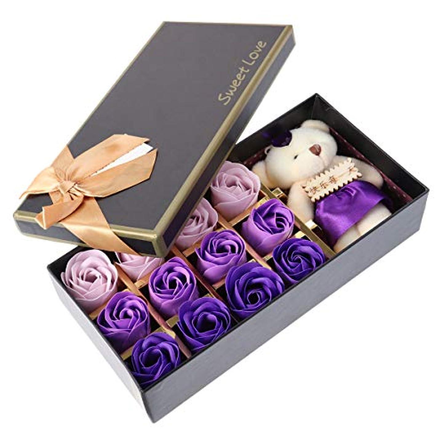 高音支援連続したBeaupretty バレンタインデーの結婚式の誕生日プレゼントのための小さなクマとバラの石鹸の花