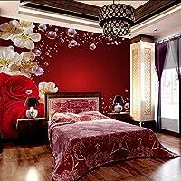 Wxmca 結婚式の部屋の赤いバラと桃の花の壁画の背景の壁画のための花の壁画3D壁の壁画-400X280Cm
