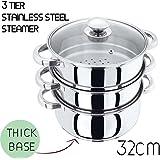 3 Tier Stainless Steel Steamer Pot - INDUCTION friendly Cookware Sauce Pan Steamer Pot 32cm