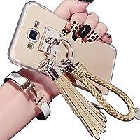 Galaxy 2015 A8 Mirror ケース, Beautiful Hand Sling Anti-Slip Strap Tassel Luxury Shiny Make-Up Mirror Thin カバー, TAITOU Awesome Ultralight Slim Phone ケース For Samsung Galaxy A800 Gold