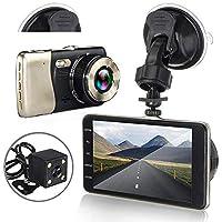 Windowew 高解像度 4インチ デュアルレンズカメラ HD 1080P 車載DVR 車載ビデオダッシュカムレコーダー Gセンサー 16GB 高速メモリーカード付き LA0446600GJhT