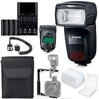Canon Speedlite 470EX-AI 高速カメラフラッシュ オートインテリジェントバウンステクノロジー + スピードライトケース + Lフラッシュブラケット + TTLコード + 単三電池4本 & 充電器 + フラッシュディフューザー