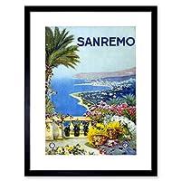 Sanremo Italy Sea Beach Flowers Mediterranean Picture Framed Wall Art Print イタリアビーチフラワーズ画像壁
