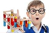 Wishtime 幼児 ビーズコースター スロープ 33点セット 木のおもちゃ 積み木 ブロック 玉転がし 知育 玩具(色指定不可)
