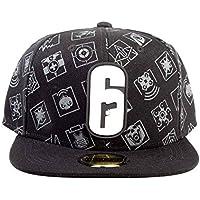 Rainbow 6 Baseball Cap 6-Siege Classic Logo Official Gamer Black Snapback One Size