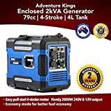 Kings 2kVA Portable Camping Generator 57.8dB 2 Year Warranty Pure Sine Wave Inverter