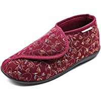 Hotme Women's Cozy Memory Foam Slippers with Adjustable Closure,Extra Wide Width Diabetic Arthritis Edema Swollen Feet House Shoes Indoor Outdoor Anti-Skid Rubber Sole (10 M US, Style 3-Wine Red)