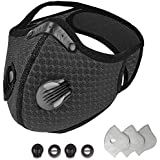Dust Mask Reusable Anti Dust Unisex Mouth Face Mask, Filter Replacement Breathable Earloop Anti Smoke Pollution Pollen for Cycling, Running, Outdoor Sports (Black)