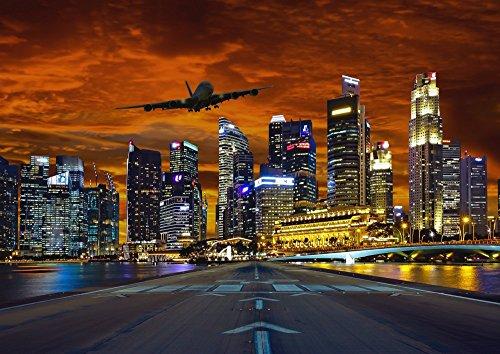 絵画風 壁紙ポスター (はがせるシール式) シンガポール 夕焼け 飛行機 滑走路 夜景 キャラクロ SGP-005A1 (A1版 830mm×585mm) 建築用壁紙+耐候性塗料