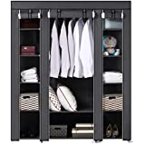 BRIAN & DANY Large Portable Clothes Closet Canvas Wardrobe Storage Organizer with Shelves 150 x 45 x 175cm