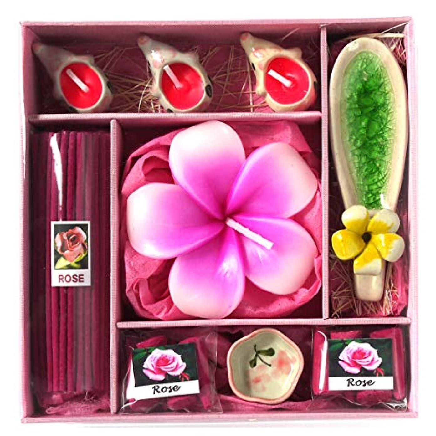 チョークである刈るアロマギフトBOX Lサイズ 退職お礼ギフトお返しギフト アロマキャンドルとお香のギフトセット (ピンク)