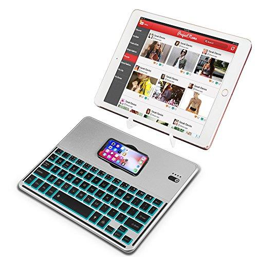 ワイヤレスキーボード 無線 VIFLYKOO Bluetoothキーボード QI ワイヤレス充電付き 軽量 薄型 iOS/Android/Mac/Windows に対応 RGB7色バックライト変換 (シルバー)