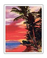 アイルO '夢、ハワイ - ビンテージなハワイアンカラーのハガキ c.1930s - アートポスター - 41cm x 51cm